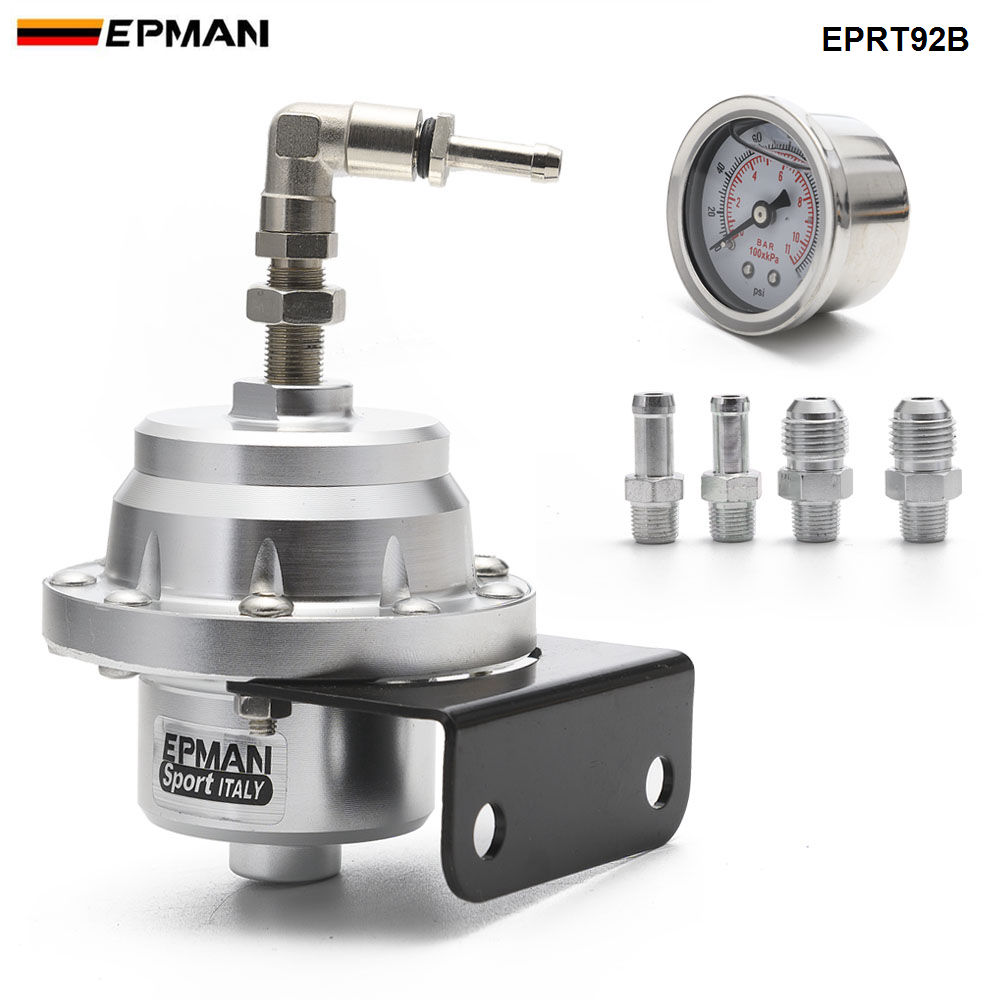 With 160psi Gauge EPMAN Universal Adjustable Injected Bypass Fuel Pressure Regulator Fitting End AN10