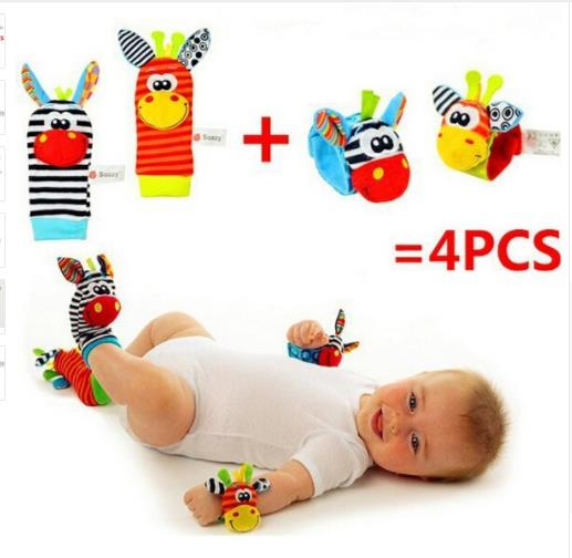 Cartoon Baby Wrist Socks Toys Animal Wrist Stripe Foot Ring Socks Gift Bracelet Foot Rattles Garden Protect Wrist 0-24M
