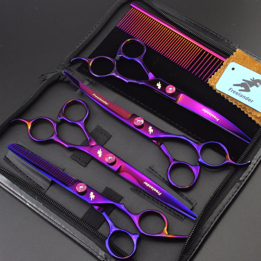 7.0 inch colorful plating 4 sets of beauty scissors high end hairdressing scissors pet beauty salon set to send steel comb