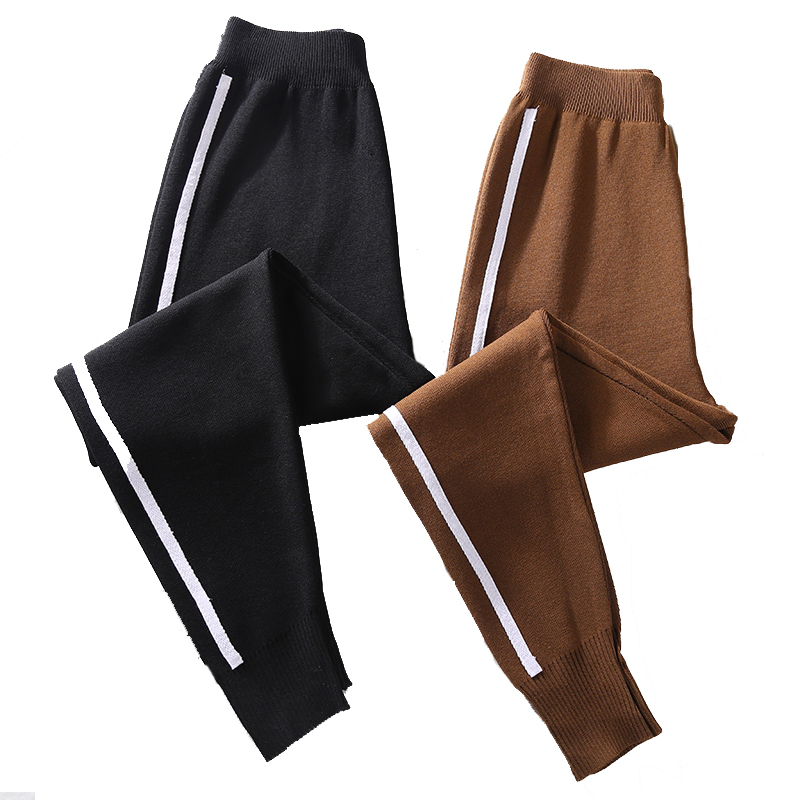 Autumn Knitted Harem   Pants   Women Women's Drawstring   Wide     Leg     Pants   Outdoor Comfy Casual Elastic Waist   Pants   with Pockets