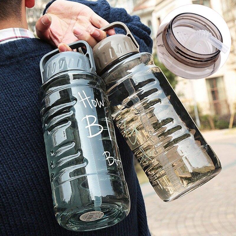 뜨거운 2l 대용량 크리 에이 티브 자전거 스포츠 야외 여행 플라스틱 내 물 병 휴대용 핸들 차 여과기 짚 주전자