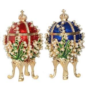 Image 1 - Hàng Mới Về Nga Faberge Trứng Cao Cấp Ngọc Trai Hộp Trứng Phục Sinh Đính Ong Thiền Trượng Kim Loại Tặng Giáng Sinh Của Cô Quà Tặng