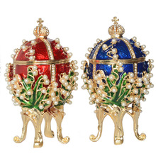 New arrival Russian faberge egg luxury pearl jewelry box Easter egg bejeweled trinket metal Gift for Her Christmas gifts