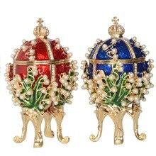 New arrival rosyjskie jajko faberge luksusowe perły pudełko z biżuterią pisanka bejeweled ozdoba metalowy prezent dla niej prezenty świąteczne