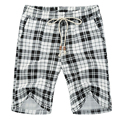 2016 Men Knee Length Shorts Men's Casual Fashion Slim Fit Large Size Plaid Summer Beach Shorts Outwear Plaid Shorts Trousers Men