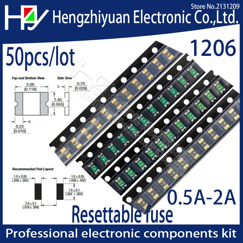 Hzy 1206 0.05A 0.1A 0.12A 0.16A 0.2A 0.25A 0.5A 0.75A 1.1A 2A 3A 3.5A 4A SMD Resettable Fuse PPTC PolySwitch Self-Recovery Fuse 10pcs 1206 0 2a 200ma polyswitch smt smd resettable fuse