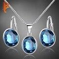 Nupcial Conjunto Joyería de La Boda para Las Mujeres Pendientes Collar de 925 Sistemas de La Joyería de Plata con Piedras de Cristal Azul Accesorios Bijouterie