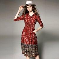 100% шелк платье Для женщин печатных кнопку V шеи три четверти рукав эластичный пояс Класс ткань длинное платье новые летние Мода 2018