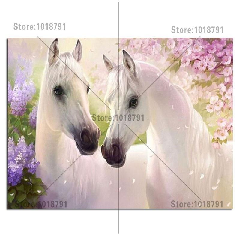 6ee5ee2de اثنين أبيض الحصان 50x38 سنتيمتر الحفر الماس الكامل التطريز 3d الماس عبر  غرزة الأزياء صور الراين الماس الفسيفساء