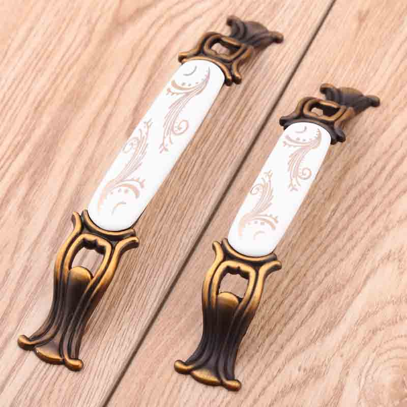 96mm 128mm bronze dresser door handle cream golden ceramic kitchen cabinet drawer knob pull 5 Retro style wardrobe door handle 115mm 96mm golden flower ceramic dresser door handle bronze drawer cabinet knob pull vintage furniture handles 4 5 rings pull