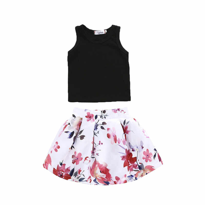 PUDCOCO Newest Floral Sundress Baby Girl Tops Vest And Skirts Prom Pageant Wedding 2pcs Kids Girl Sweet Outfits Sest 2-6T