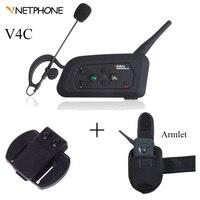 V4C Vnetphone Interfone Bluetooth Full Duplex Two-way Moto Capacete Gancho do Fone De Ouvido FM Sistema de Comunicação do Treinador de Futebol 4 Piloto