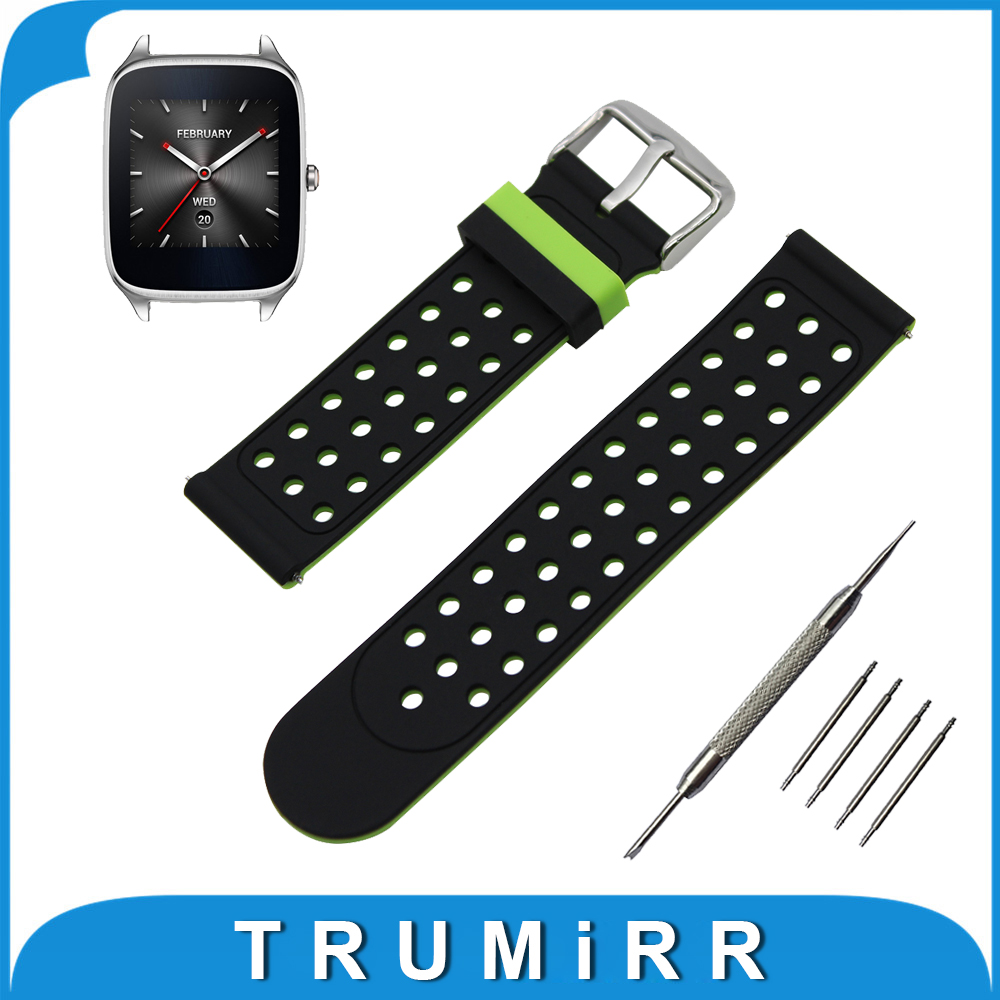 22mm Silicone Rubber Watch Band Double Side Wearing for Asus ZenWatch 1 2 Men WI500Q WI501Q Strap Wrist Belt Bracelet + Tool 22mm 24mm silicone rubber watchband double side wearing strap for diesel men women watch band wrist belt bracelet black blue red