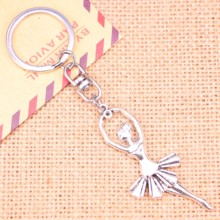 20pcs New Fashion Keychain 61*24 mm ballet dancer ballerina Pendants DIY Men Jewelry Car Key Chain Ring Holder Souvenir For Gift
