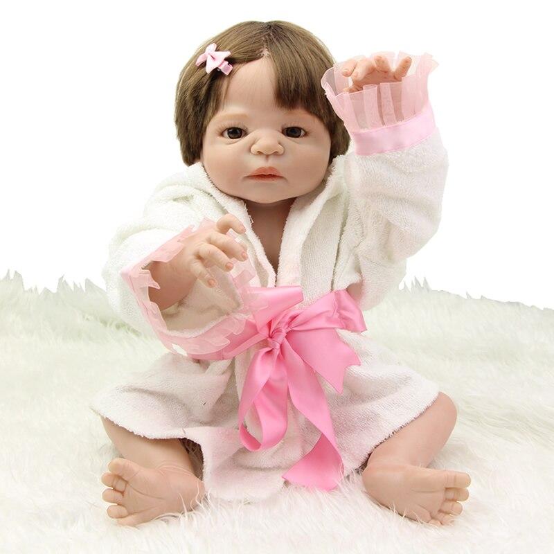 NPK Collection 23 Inch Realistic Baby Dolls Newborn Girls Real Life Looking Full Silicone Vinyl Reborn Kids Birthday Xmas Gift