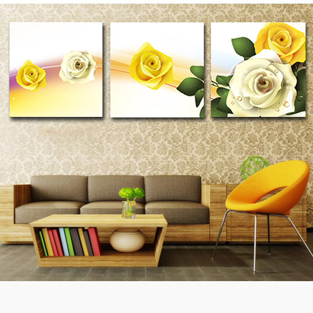 No Frame 3 Panels Modern Rose Canvas Paintings On The Wall Art Large ...