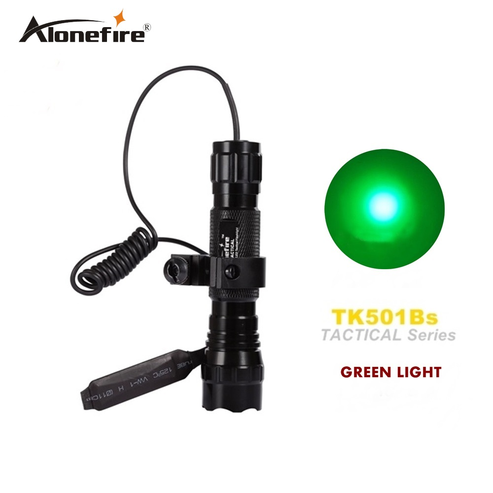 Alonefire CREE XPE Q5 501B led green light Airsoft Tactical Flashlight Hunting Rifle Torch Shot gun lighting mount+Remote switch