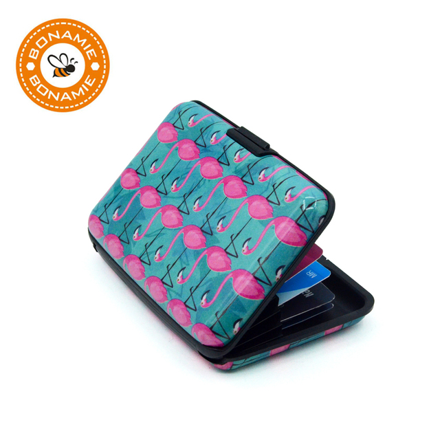 Slim secure wallet – Card case holder – Cool patterns – RFID blocking card holder housing – Automatic card popup – Bonamie – Feathers