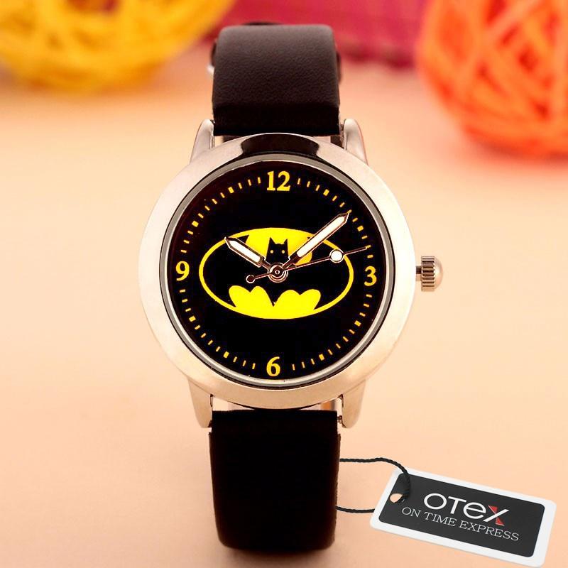 OTEX  2016 Hot Sale Children Cute  Cartoon Watch Batman Pikachu   Version Quartz  Watch Snap Watches Kids Clock Relogio Feminino