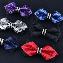ddaf5aef4341 Smoking Metal cristal boda pajarita hombres mujeres mariposa nudo Cravat  negro púrpura azul Jujube rojo novio