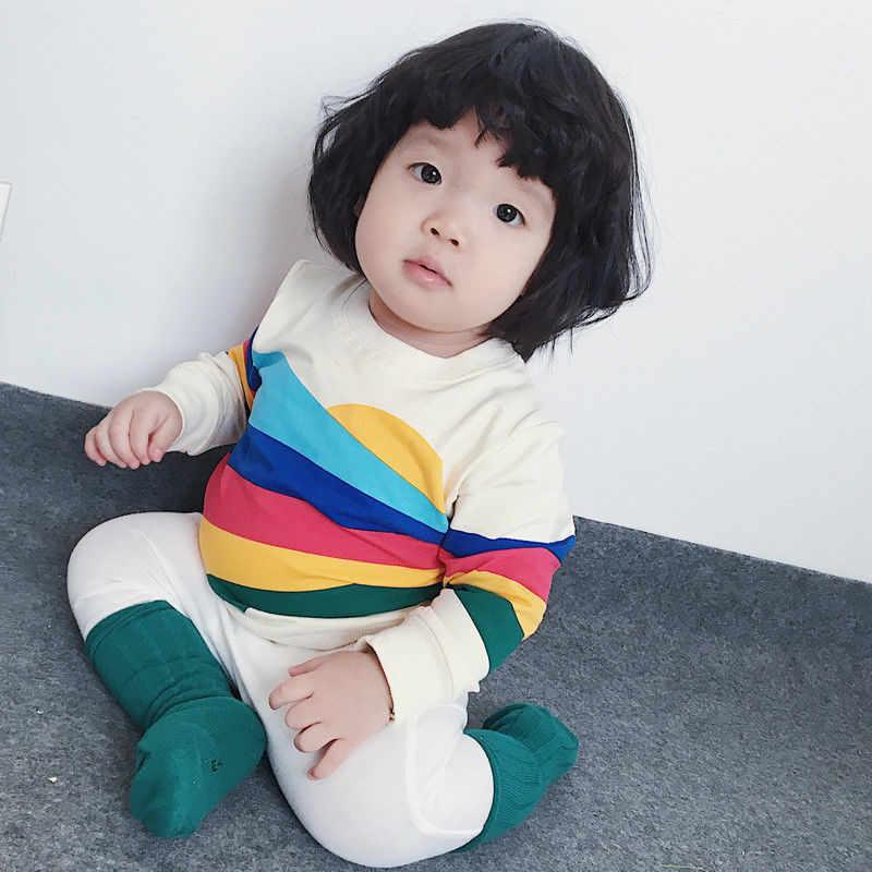 a7bf91e4d610b Sweet Baby Girls Kids Clothes T-Shirt Sweatshirts Rainbow Long Sleeve  T-Shirt Sweatshirt Tops
