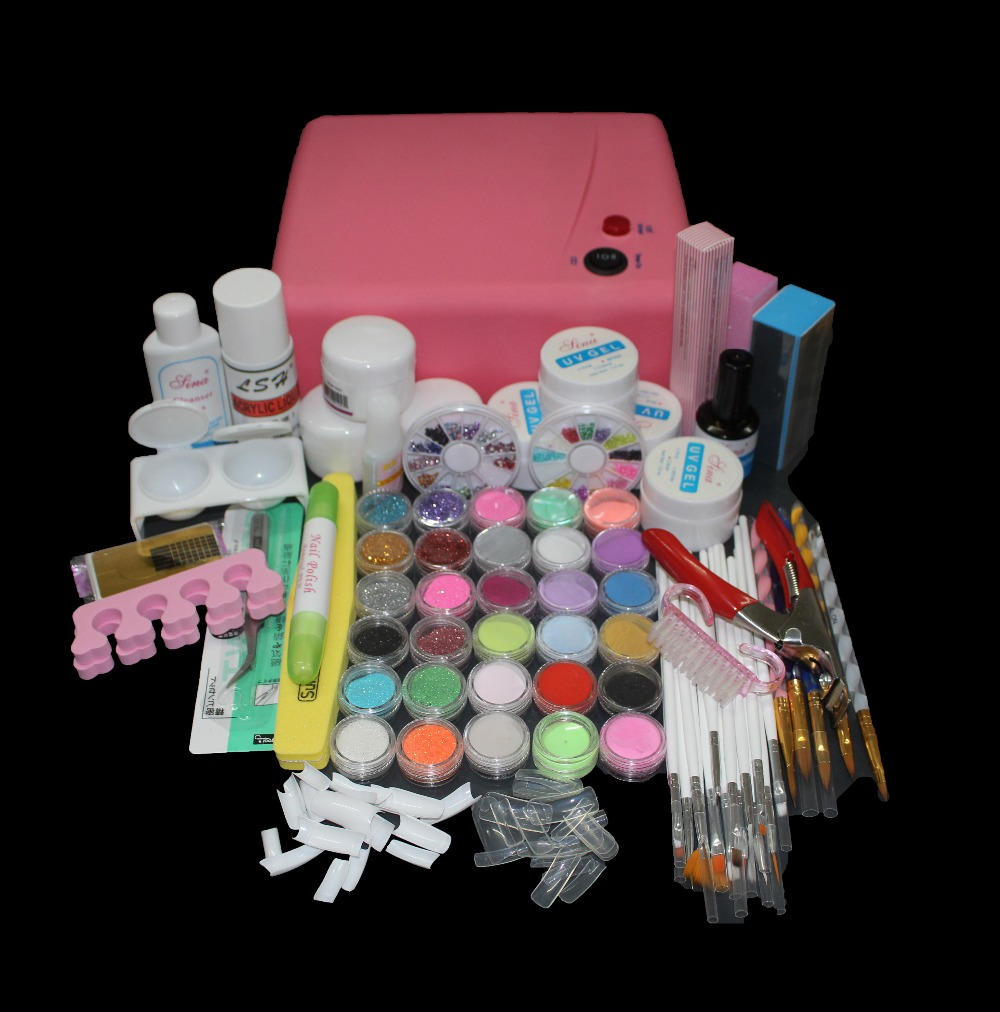 Nail Pro 36W rosa UV-torklampa 30 färger akrylpulver Gel Tips Nail Art Tools Set BTT-121