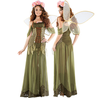 New 2018 Quality Halloween Forest Green Elf Sexy Flower Fairy Set Princess Angel Ice and Fire Cute Elf Pack Carnival Costume