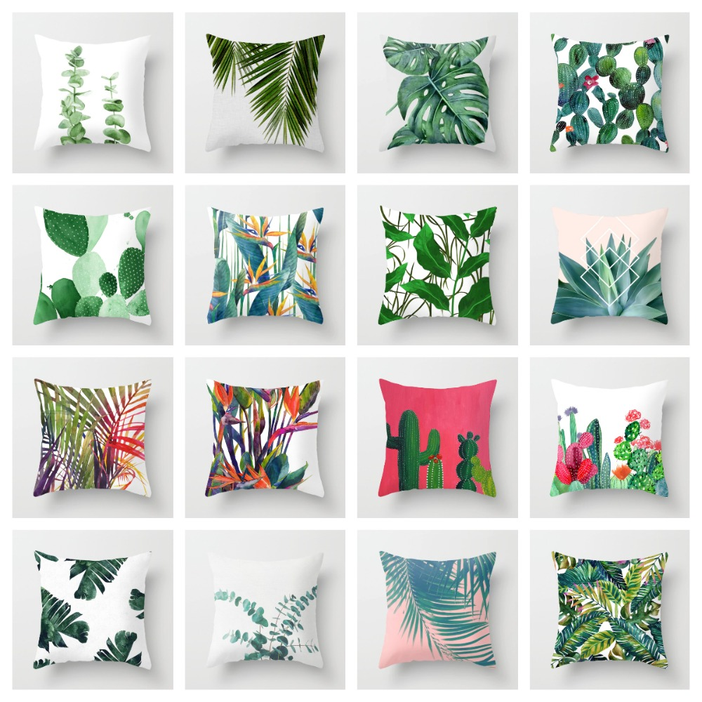 ZENGIA Tropical Decoration Print Cactus Monstera Cushion Cover Polyester Green Throw Pillow For Sofa/Home Decorative Pillowcase