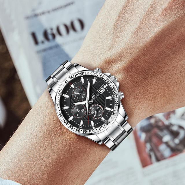 MEGALITH Fashion Army Military Watches Men Steel Strap Quartz Clock Sport Chronograph Waterproof Watches Men Relogio Masculino