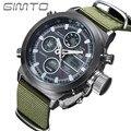 2016 GIMTO Sports Men Watch couro Nylon choque de quartzo LED relógio Digital exército masculino impermeável militar relógios relogio masculino