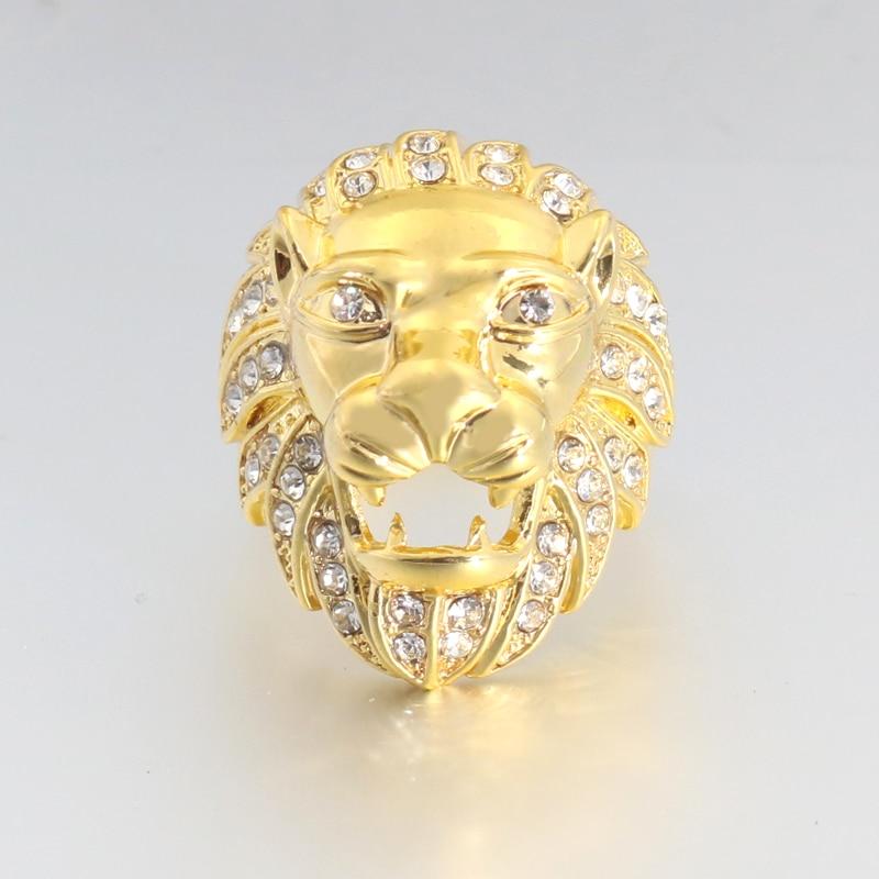 2019 Neue Sphinx Zirkon Gold Lion Ring Zirkonia Ring Für Frauen Männer Lion Ringe Hip Pop Pop Rose Gold Männlichen Schmuck Tier
