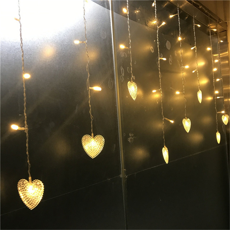Multicolors Outdoor Decoration Indoor Droop 0.3-0.5m 18p Heart Love Curtain Icicle Led String  For New Year Garden Party