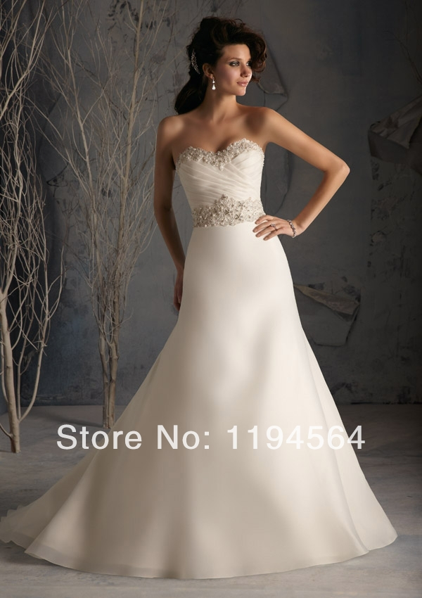 appliques and beaded sweetheart casual wedding dress satin white a line new fashion 2014 bridal gowns