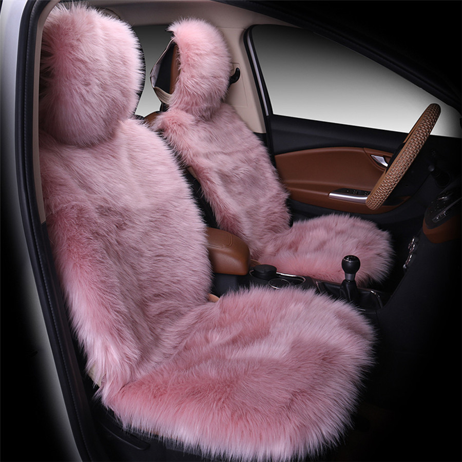 3pcs/set Pink Color Front and Back Car Seat Cover Furry Fluffy Thick ...