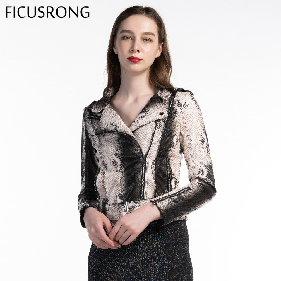 Turn-Down Collar Casual Pu Motorcycle Snake Punk Outerwear Women Sashes Zipper Faux Soft Leather Jacket Coat 2019 New FICUSRONG