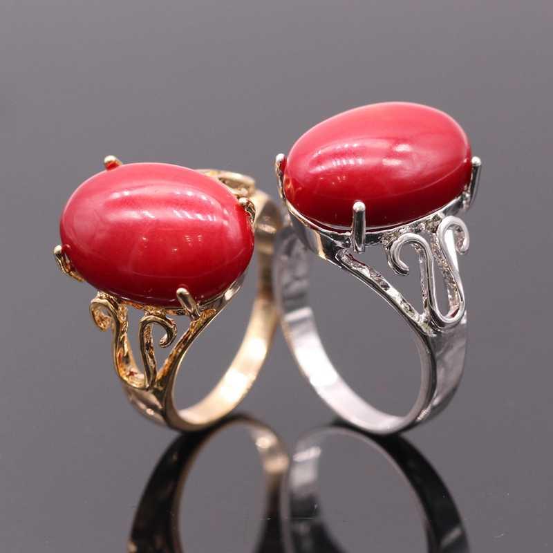 GZJYแฟชั่นผู้หญิงแหวนรูปไข่ธรรมชาติจริงสีแดงปะการังสีทองแหวนสำหรับผู้หญิงเครื่องประดับงานแต่งงาน