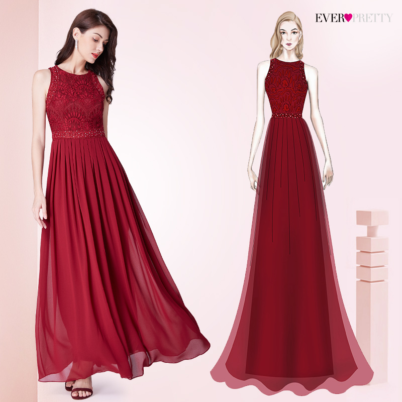 Long Burgundy   Prom     Dresses   2018 Ever Pretty Elegant Beading A Line Pleated Chiffon Lace Formal Party Gowns Vestidos De Fiesta