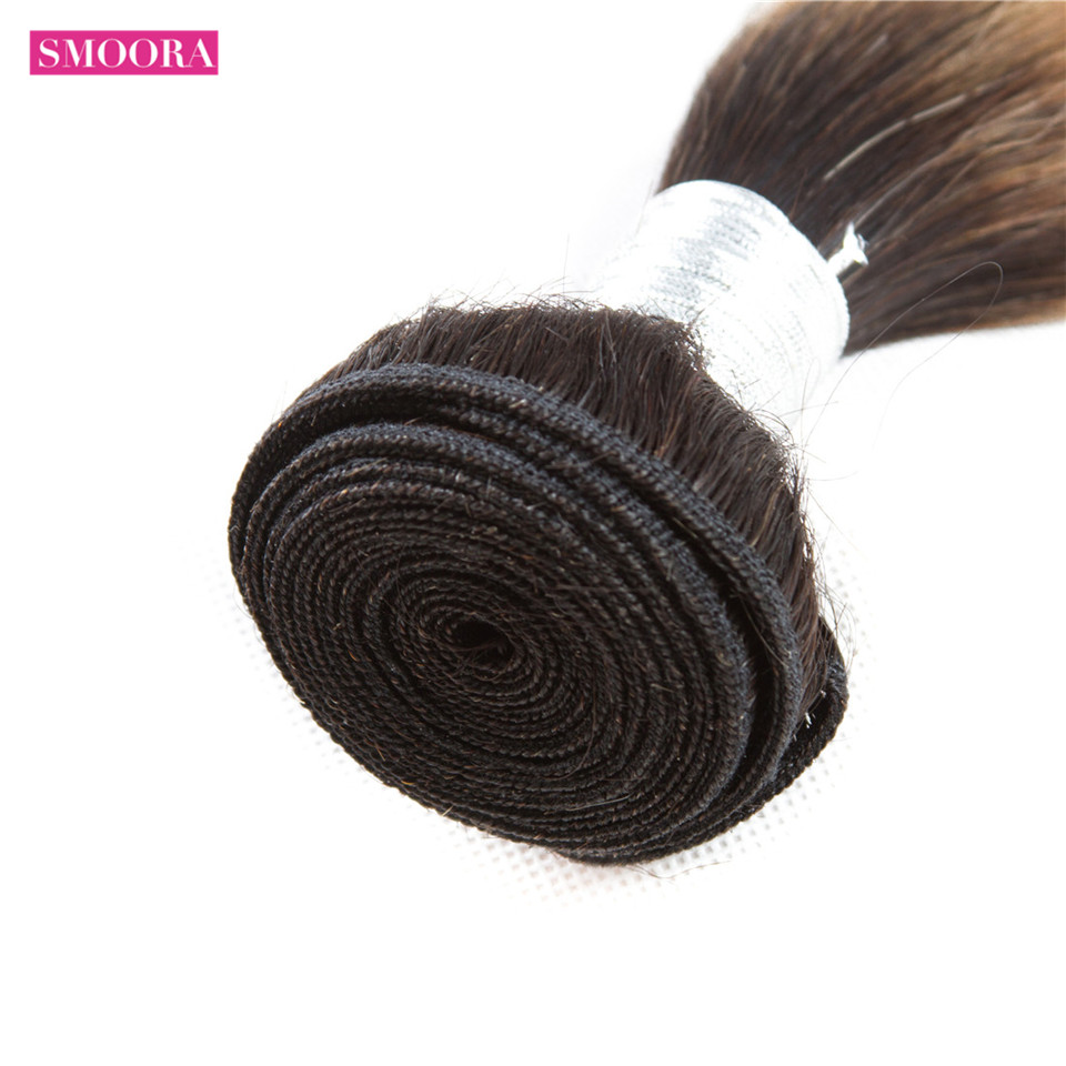 Smoora Hair Ombre  Straight 4 Bundles With Closure T1B/27 Ombre  Bundles With Closure Honey Blonde Non  3