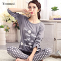 2016 New Pajamas Women Cotton Sleepwear Long Sleeve Lounge Wear O-neck Women Pajama Set 3XL