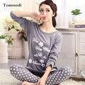 2016 Novos Pijamas Mulheres Sleepwear Algodão de Manga Longa Salão Desgaste O-pescoço Set Mulheres Pijama 3XL