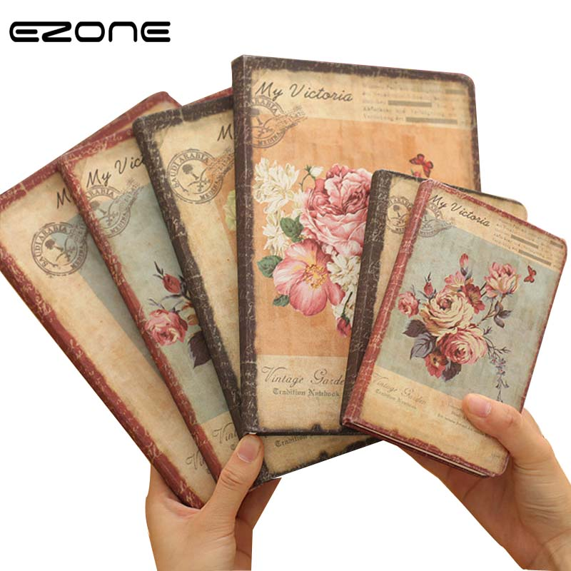 EZONE Vintage Notebook Printed Cute Rose/Penoy/Lily Note Book Creative Notepad Traveler Journey Daily Diary School Office Supply ezone cute cartoon notebook printed kawaii cat note book pu cover with hasp nopated traveler journey diary school office supply