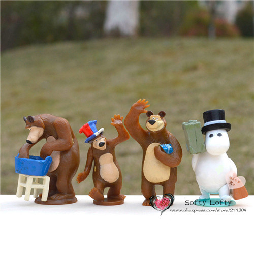 Free shipping 1pc Retail Russian Bear Mini Figures PVC toys bear animal toys cake car party office home decoration kids gift lps pet shop toys rare black little cat blue eyes animal models patrulla canina action figures kids toys gift cat free shipping