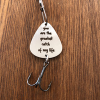 You are My Greatest Catch Fishing Gift Fishing Lure Mens Gift Fishing Lure Stainless Steel Key Ring Fish Hook Pendant 2
