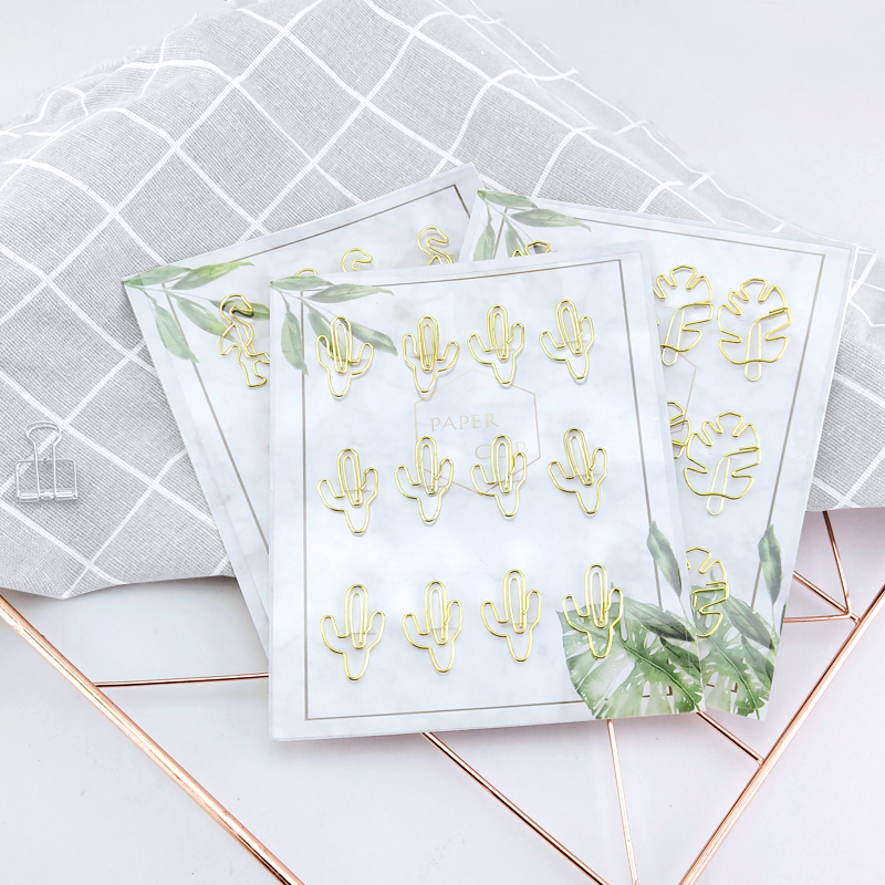 12pcs Plant Cactus Flamingo Shape Gold Metal Paper Clips For Photo Message Cute Bookmark Planner Office Accessories Stationery