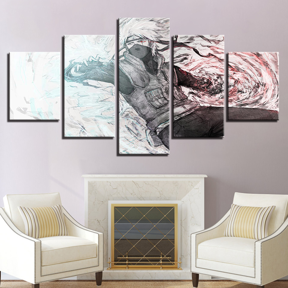 canvas modern wall art home poster 5 panel naruto character living room hd print painting. Black Bedroom Furniture Sets. Home Design Ideas