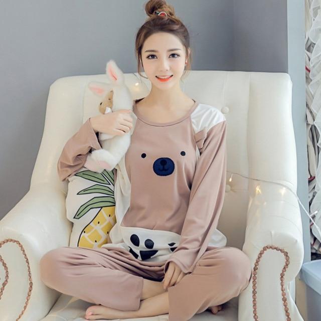 Outdoor wear XXXL Cotton Maternity Sleepwear Pregnant Women Pajamas Nursing BreastFeeding Nightgown Clothes Cartoon Home Service