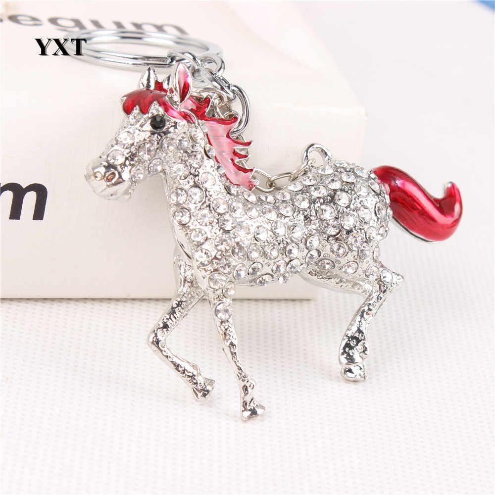 جميل الأحمر الحصان تشغيل بالفرس كريستال سحر محفظة يد سيارة مفتاح كيرينغ المفاتيح حزب الإبداعية صديق هدية اكسسوارات
