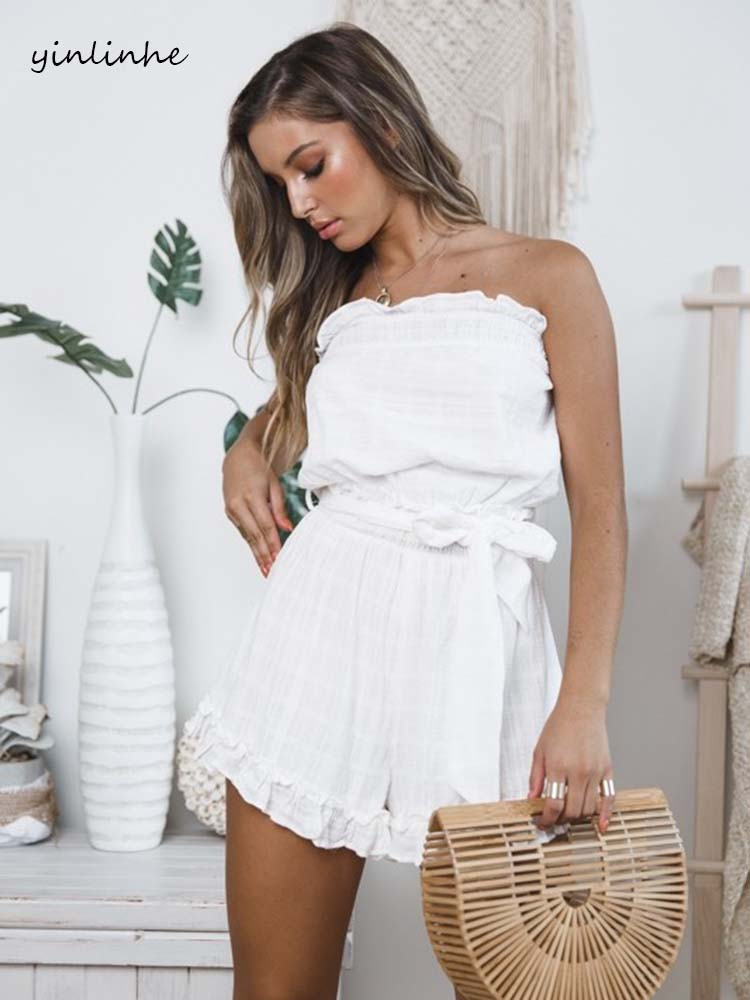 Yinlinhe Off Shoulder White Playsuit Summer Overalls For Women Cotton And Linen Slash Neck Sexy Short Jumpsuit Women Romper 1154