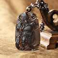 Drop shipping Natural Hand Carved ice species obsidian guan gong pendant transhipped lucky pendant