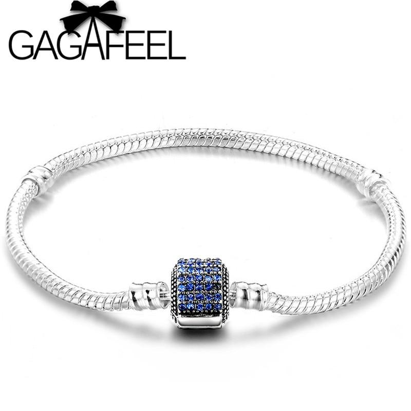 GAGAFEEL 180mm Luxury Vintage DIY Bracelet for Women's Men's Blue Pink Color CZ Zircon Clasp Bangle Jewelry Accessories Hot Sale